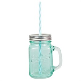 Turqouise Vintage Original Mason Jar with Straw