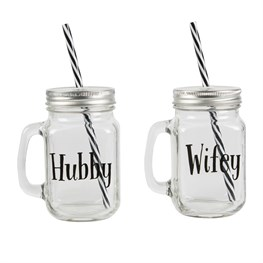 Hubby & Wifey Mason Drinking Jar (options available)