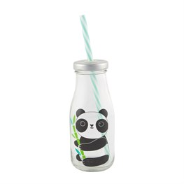 Aiko Panda Mini Milk Bottle with Straw
