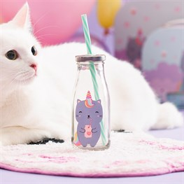 Luna Caticorn Mini Milk Bottle with Straw