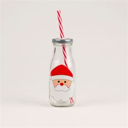 Illustrated Santa Mini Milk Bottle with Straw