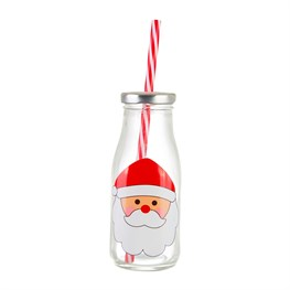 Santa Mini Milk Bottle with Straw