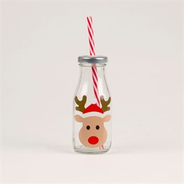 Reindeer Mini Milk Bottle with Straw