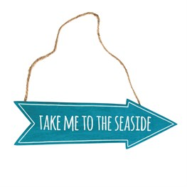 Take Me to the Seaside Arrow Sign Ocean Blue