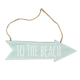 To the Beach Arrow Sign Aqua Blue