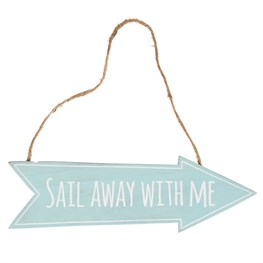 Sail Away with Me Arrow Sign Aqua Blue
