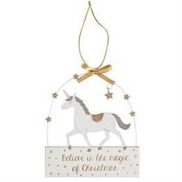 Believe in the Magic of Christmas Unicorn Plaque
