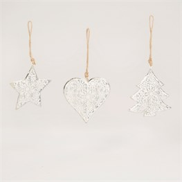 Star, Tree & Heart Winter Hanging Decoration - 1 Piece