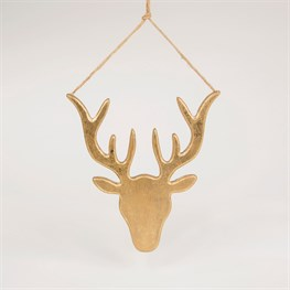 Gold Glitter Stag Head Hanging Decoration Large