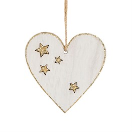 Rustic Wood White Heart Hanging Decoration