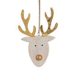 Rustic Reindeer Head Hanging Decoration
