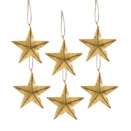 Gold Star Hanging Decorations - Set of 6