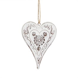 Metal Cut Out Floral Pattern Heart Hanging Decoration