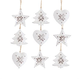 Cut-Out Snowflake Hanging Decorations - Set of 9