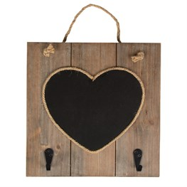 Ashley Farmhouse Heart Chalkboard with Hooks
