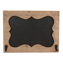 Ashley Farmhouse Fancy Rectangle Chalkboard with Hooks