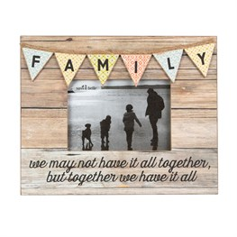 Family Rustic Bunting Photo Frame