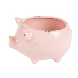 Rustic Pig Planter Pink