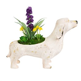 Rustic Dog Decoration with Flowers Cream