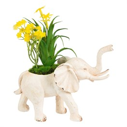 Rustic Elephant Decoration with Flowers Cream