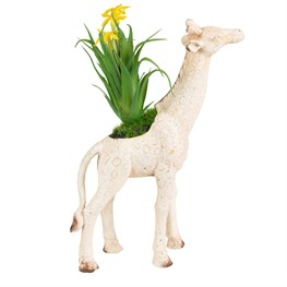 Rustic Giraffe Decoration with Flowers Cream