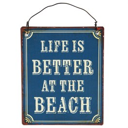Life is Better At the Beach Mini Retro Hanging Plaque