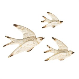 Set of 3 Flying Swallow Wall Decorations Vintage Cream