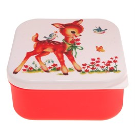 Deer & Birds Square Lunch Box Red