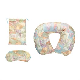 Vintage Map Travel Pillow And Eye Mask Set