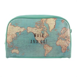 Vintage Map Wash & Go Wash Bag