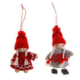 Felt Girl with Red Knit Hat Hanging Decoration