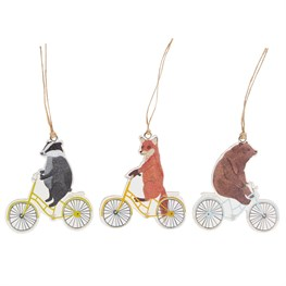 Set of 12 Happy Animals on  Bike Gift Tags