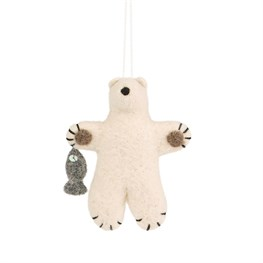 Felt Polar Bear with Fish Hanging Decoration