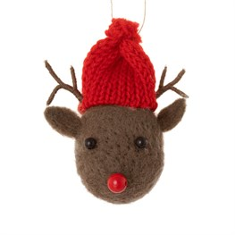 Woodland Reindeer with Hat Hanging Decoration