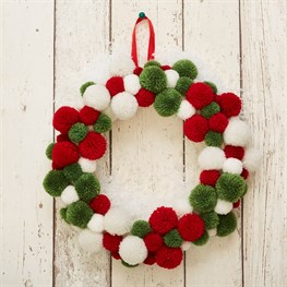 Traditional Christmas Pom Pom Wreath