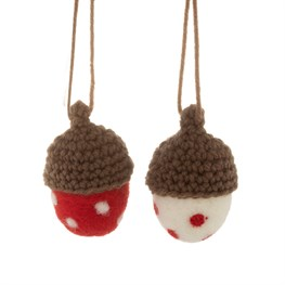 Red & White Dotty Acorn Hanging Decorations - Set of 2