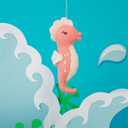 Wonderland Pink Seahorse Hanging Felt Decoration