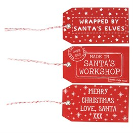 Set of 15 Red Santas Workshop Gift Tags