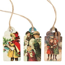 Set of 15 Retro Vintage Christmas Scene Gift Tags