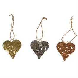 Metallic Crushed Effect Heart Hanging Decoration