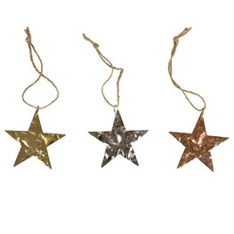 Metallic Crushed Effect Star Hanging Decoration
