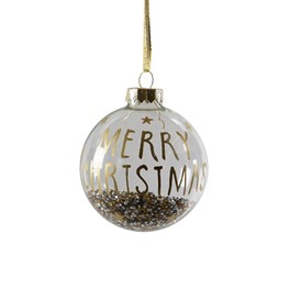 Merry Christmas Golden Beads Shaker Bauble