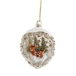 Brown Fawn Open Bauble in Silver Crackle Surround