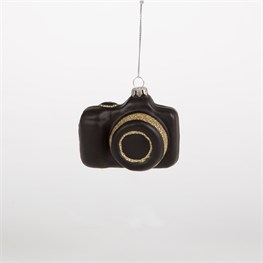 Black & Gold Retro Camera Bauble