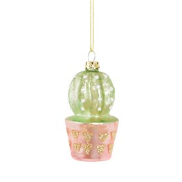 Pastel Cactus Glitter Shaped Bauble