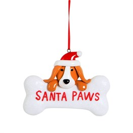 Clay Santa Paws Puppy Hanging Decoration