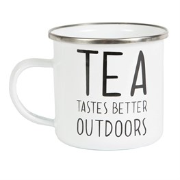 Tea Tastes Better Outdoors Enamel Mug