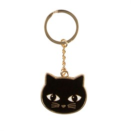 Black Cat Enamel Keyring