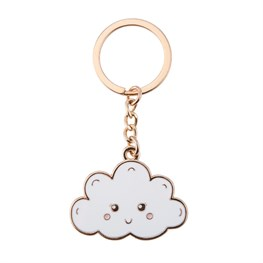 Happy Cloud Enamel Keyring