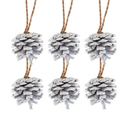 White Pinecone Hanging Decorations - Set of 6